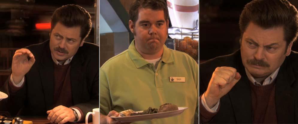 Original video screen captures of Ron Swanson ordering breakfast.
