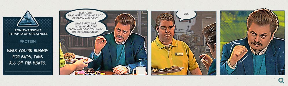 "Final rendered design of the comic strip, ""Ron Swanson Orders Breakfast"""